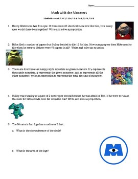 Math with Monsters Inc.
