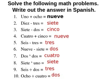 Math with Numbers 1-10 in Spanish