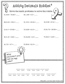Adding Decimals Math with Riddles