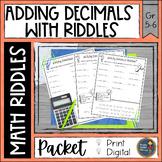 Adding Decimals Math with Riddles