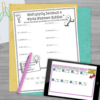 Decimals Math with Riddles Bundle