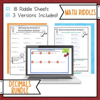 Decimals Math with Riddles Bundle
