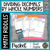Dividing Decimals by Whole Numbers Math with Riddles