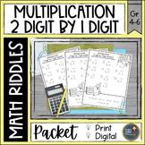Multiplication 2 digit x 1 digit Math with Riddles