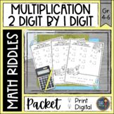 Multiplication 2 digit x 1 digit Math with Riddles