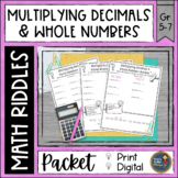 Multiplying Decimals and Whole Numbers Math with Riddles D