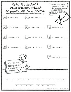 Order of Operations 1 Math with Riddles