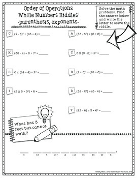 Order of Operations 5 Math with Riddles