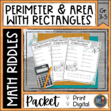 Perimeter and Area with Rectangles Math Riddles Distance Learning Math