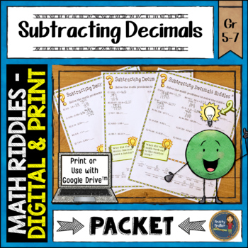Subtracting Decimals Math with Riddles