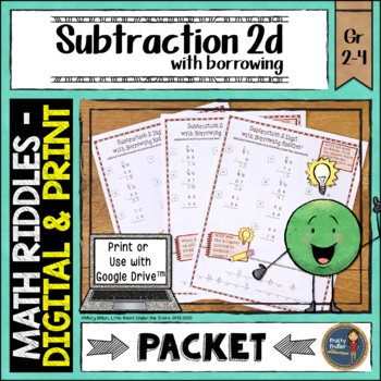 Subtraction 2 Digit with Borrowing Math with Riddles