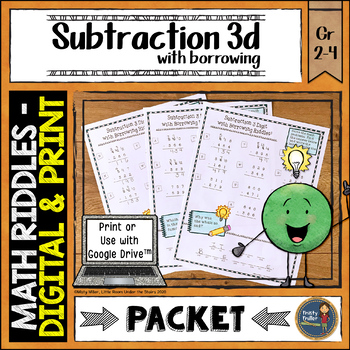 Subtraction 3 Digit with Borrowing Math with Riddles