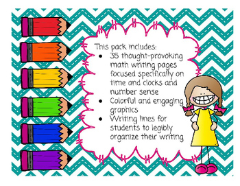 Math with Writing Daily 3 Value Pack- Time and Clocks, Number Sense