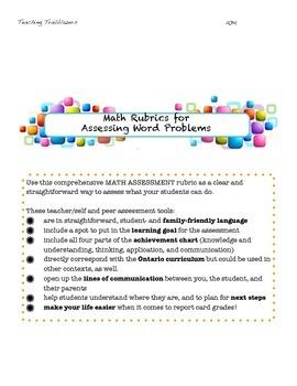 Math word problem rubric! Peer, teacher, and self assessment tool!