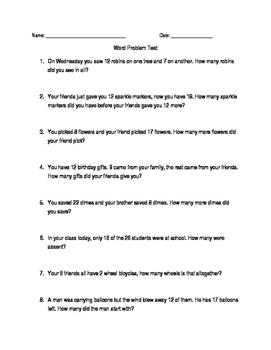 Math word problem test (grades 1-3)