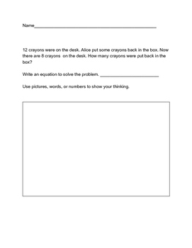 Math word problems-subtraction Common Core Aligned