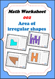 Math worksheet 002 - Area of irregular shapes