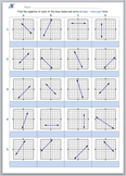 Math worksheet 005 - Equation of each graph in slope – int
