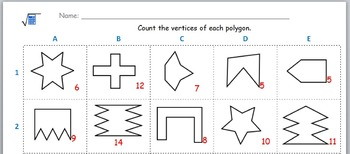 Math worksheet 006 - How many vertices in each shape