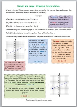 Math worksheet 041 - Domain and range of function graphs graphical determination