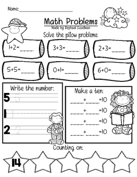 Math worksheet #2 - Free item from my 6 year old. | TpT