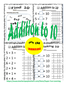 Math worksheets - Addition to / within 10