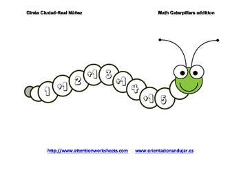 Math worksheets Caterpillars for Addition