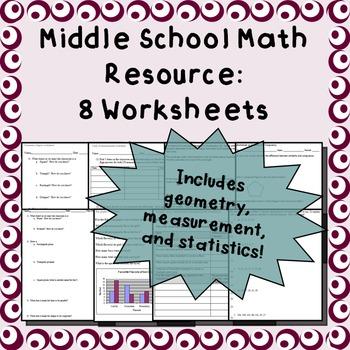 Math worksheets (Geometry, central tendency, bar graphs, etc.)