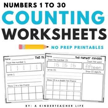 Number Tracing 1 30 Worksheets Teaching Resources Teachers Pay