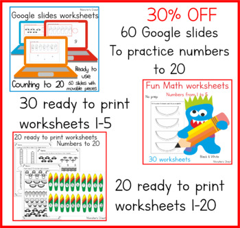 Math worksheets. Numbers 0-20