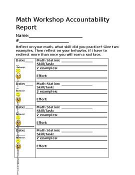 Math workshop student accountability report