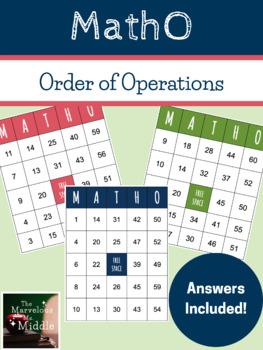 Order of Operations MathO Game (No Exponents)