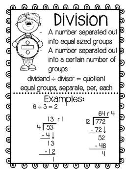 Math Operations Anchor Charts