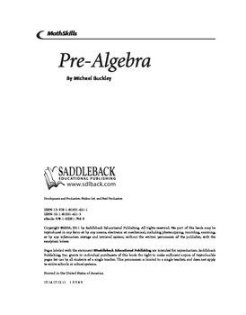MathSkills Pre-Algebra