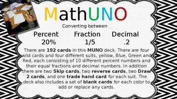 MathUNO: Converting decimals,percents,and fractions