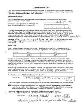 Mathematical Analysis of Measurements