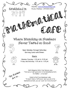 Mathematical Cafe-Where Munching on Numbers Never Tasted So Good