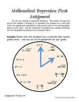 Mathematical Clock Project for all Grades