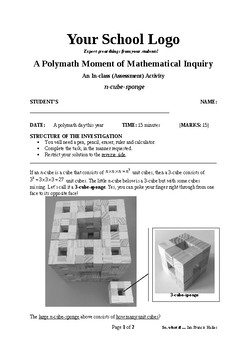 Mathematical Inquiry (n cube sponge)