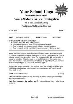 Mathematical Investigation (Addition and Subtraction Strategies)