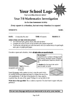 Mathematical Investigation (Every square is a rhombus but, not every rhombus ..)