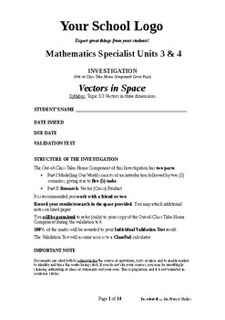 Mathematical Investigation (Vectors in Space)