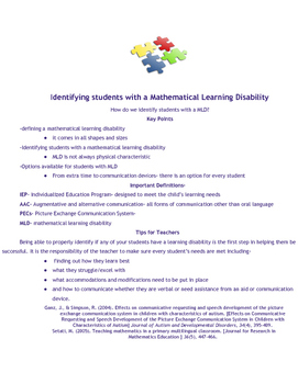 Mathematical Learning Disability handout