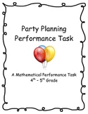 Mathematical Performance Task - Party Planning