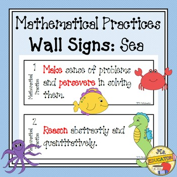 Mathematical Practices Signs - Sea Animals