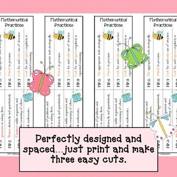 Mathematical Practices Bookmark - Bees & Butterflies