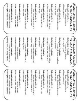 """Mathematical Practices: """"I can"""" statements (bookmarks)"""