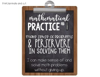 Mathematical Practices Posters - Rustic Chalkboard