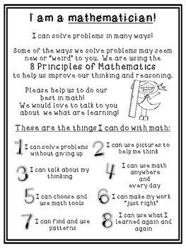 Mathematical Practices Posters and Parent Letter