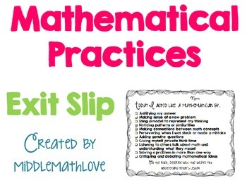 Mathematical Practices Reflection Exit Slip